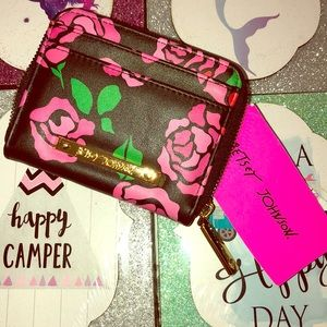 Betsey Johnson Black and Pink Rose Wallet